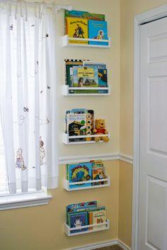 4 dollar IKEA spice racks turned kids book storage what a fabulous idea - Kids Room Ideas Kids Storage, Wall Storage, Storage Ideas, Toy Storage, Spice Storage, Kid Book Storage, Craft Storage, Bookshelves Kids, Bookshelf Ideas