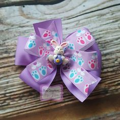 4 inch Easter Bunny Hair Bow, Hairbow, Easter Bunny, Easter Gift, Toddler Bow, Lavender Bunny Bow, Clip, Barrette, Bunny Paw Prints, Girls by BowCreationsByJess on Etsy