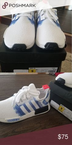 low priced 151be 72900 Adidas NMD R1 White Blue Never worn, brand new! adidas Shoes Athletic Shoes  Adidas