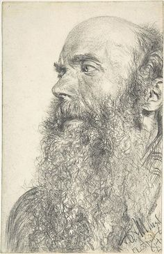 Head of a Bearded Man, by Adolph von Menzel - Date unknown. Drawing - graphite. Metropolitan Museum of Art - New York