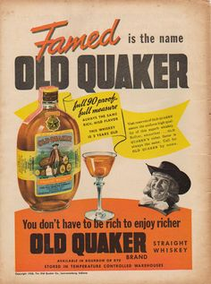 old whiskey ads - Old Quaker 1938