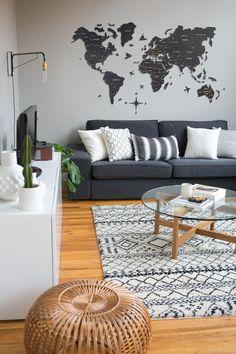 Living Room Grey, Living Room Sofa, Home Living Room, Apartment Living, Living Room Designs, Living Room Decor, Apartment Therapy, Charcoal Sofa Living Room, Espace Design