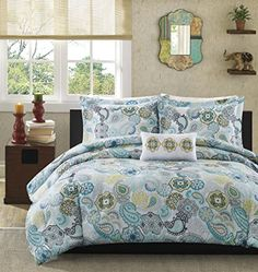Mi Zone Tamil Comforter Set Full/Queen Size - Blue White , Floral – 4 Piece Bed Sets – Ultra Soft Microfiber Teen Bedding For Girls Bedroom Grey And Teal Bedding, Teal Bedding Sets, Paisley Bedding, Teen Bedding, Queen Comforter Sets, Motif Floral, Floral Design, Trends, Cool Beds