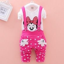 Retail 2017 New Baby Girls Clothing Sets Kids Cotton Cartoon Mickey Minnie Full Sleeve T Shirt+Suspenders Pants Suit 3 colors Discount Kids Clothes, Kids Clothes Sale, Boys And Girls Clothes, Kids Outfits Girls, Toddler Girl Outfits, Baby Outfits Newborn, Disney Baby Clothes, Cheap Baby Clothes, Costume Ours