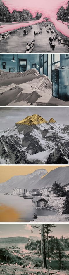 Paco Pomet lives and works in Granada, Spain, from where he creates crazy surreal paintings like the ones above. A bubble gum river, a gold foil mountain, a glacier inside an office – all is possible Photomontage, Kunst Online, Surrealism Painting, Spanish Artists, Surreal Art, Dali, Art Inspo, Collage Art, Amazing Art