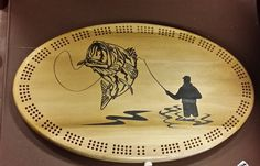 Bass fishing logo, Custom made unique cribbage board, great personnalized gift idea, wooden cribbage board by CustomSignsandTags on Etsy