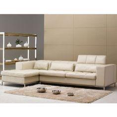 Tosh Furniture Leather Sectional Sofa, Beige - Modern Living Room Furniture