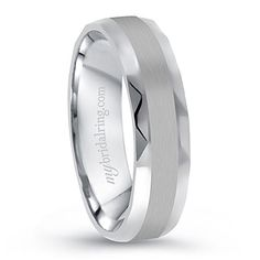 Brushed and Polished White Gold Men's Comfort Fit Band - Now 15% Discount Offer at MyBridalRing
