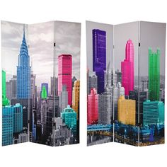 Six Ft. Tall Colorful New York Scene Room Divider, Width 48 Inches Oriental Unlimited Sc
