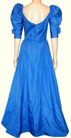 80's Bridal Originals Blue Puff Sleeve A Line Sweetheart Prom Bridesmaid Dress M | eBay