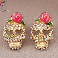 rose skull stud earrings bridesmaid gift nautical wedding
