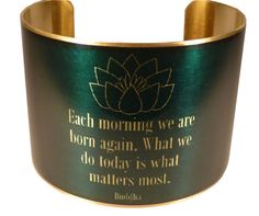 Buddha Quote with Lotus Brass Quote Cuff Buddhism by accessoreads, $38.00
