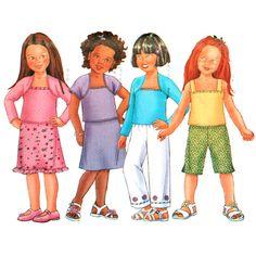 Butterick Sewing Pattern 6559 UNCUT Girl's Shrug, Top, Skirt, Pants SIZE: 6-7-8