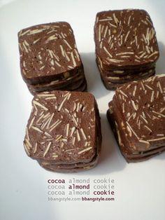 고소하고 부드러운 쿠키 : 초코 아몬드 쿠키만들기 코코아와 아몬드로 만드는 아망디오쇼콜라.모양도 예쁘...