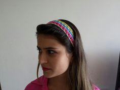 Faixa de cabelo em Crochet colorido