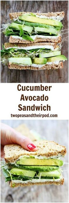 Cucumber Avocado Sandwich Recipe on twopeasandtheirpod.com This is the BEST sandwich and it is so easy to make! It is great for lunch or dinner! #Vegetariandinners,breakfastandlunches