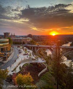 Spokane Washington, Celestial, Sunset, City, Outdoor, Beautiful, Outdoors, Cities, Sunsets