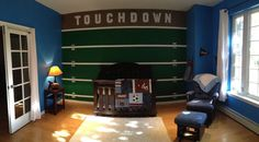 Love this football accent wall!