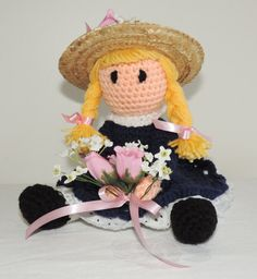 Crochet Country Doll Blue Dress Pink Flowers by SunsetPainter