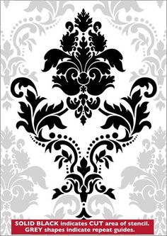 Large Damask stencil from The Stencil Library GOTHIC & MEDIEVAL range. The cost to purchase is over 50 pounds.not sure us, but probably more than want to pay. Damask Stencil, Stencil Patterns, Stencil Diy, Stencil Painting, Stencil Designs, Embroidery Patterns, Bird Stencil, Faux Painting, Stenciling