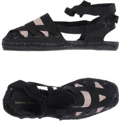 Tomas Maier Espadrilles ($280) ❤ liked on Polyvore featuring shoes, sandals, black, black lace up shoes, flat sandals, laced sandals, black espadrilles and black lace up espadrilles