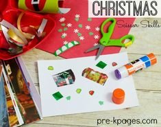 Christmas Scissor Skills for Preschool. Provide lots of variety in this Christmas themed cutting station to make learning how to use scissors fun!