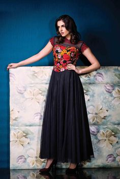 Designer Black raw silk Indian formal gown for women B16151