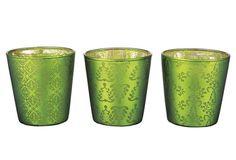 Glass Votive Holders, Asst. of 3, Green - One Kings Lane