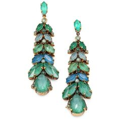 Aerin Erickson Beamon Jeweled Vine Drop Earrings (€205) ❤ liked on Polyvore featuring jewelry, earrings, accessories, green, swarovski crystal earrings, green jewelry, 24k jewelry, post earrings and jewel earrings