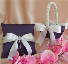 Wedding Ring Pillow and Flower Girl Basket Lapis and White