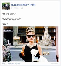 If Holly Golightly was on Humans of New York. Photo curtesy of College Humor/M♡