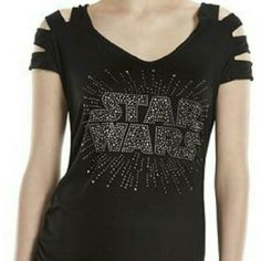 🎉CLEARANCE - ✨Rock & Republic Star Wars Top Sz L✨ ✨Rock & Republic Star Wars Top Sz L✨  🔸Super cool top with rhinestone accents 🔸Spilt sleeves with faux leather strips 🔸Ruching on sides for flattering fit Rock & Republic Tops Tees - Short Sleeve
