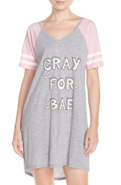 Pink sleeves and glitter details make this fun nightshirt perfect for expressing the love for bae while being comfy.