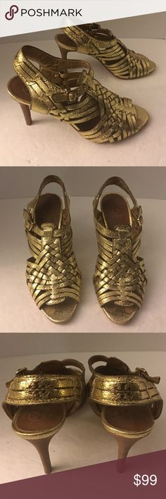Tory Burch metallic gold leather strappy heels Beautiful pair of Tory Burch strappy metallic Gold leather hills with for anthill. Adjustable strap. Logo engraved on back of straps. Excellent condition other than wear to the sole. Tory Burch Shoes Heels