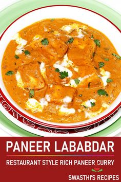 Paneer lababdar is a popular Punjabi dish made by simmering paneer in a spicy and rich gravy. Indian Paneer Recipes, Indian Food Recipes, Ethnic Recipes, Vegetarian Dinners, Healthy Dinner Recipes, Vegetarian Recipes, Easy Restaurant, Delicious Restaurant, Curry Recipes