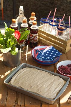 Root Beer Float Cake with Cream Cheese Frosting - Root Beer Party theme for the Fourth of July