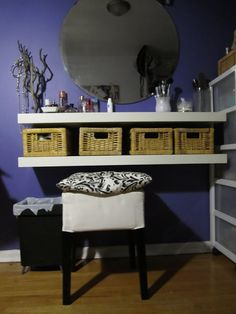 IKEA Hackers: Dressing Table  (could do this with black shelves and pink storage boxes)