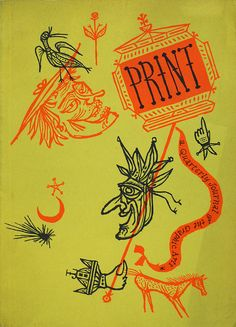 "Print Magazine Cover, Vol VI, No 4    Design by Joseph Low, with illustrations for Ben Jonson's ""Masques of Christmas"".  Winter 1950 