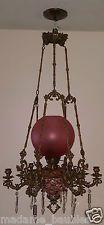 Kosmos Brenner Antique Victorian Majolica Oil Kerosene Hanging Lamp Chandelier