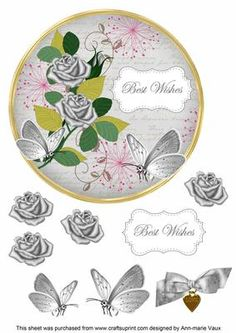 Silver Rose Best Wishes 7in Circle Decoupage Topper on Craftsuprint - Add To Basket!