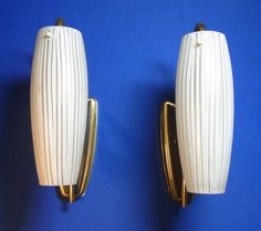 Pair Mid Century 50´s German Striped Glass Wall Lamps Sconces #O/E