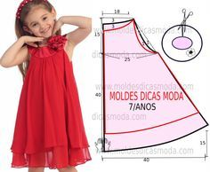 Super Sewing For Kids Clothes Little Girl Dresses Simple Ideas Baby Dress Patterns, Kids Patterns, Pattern Ideas, Sewing For Kids, Baby Sewing, Little Girl Dresses, Girls Dresses, Dress Girl, Dress Red