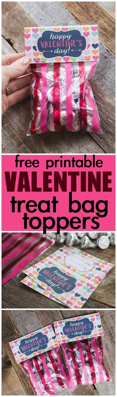 #freeprintable Valentine's Day Treat Bag Toppers is perfect to top your bag of treats. Just print it out and staple it to the top of your bag. Find it on www.sixcleversisters.com