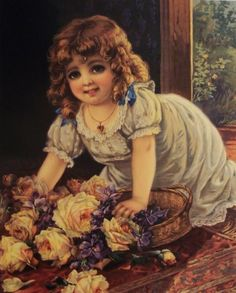 Victorian Girl with Roses Postcard ~ Rosas de Verônica