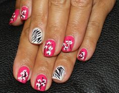 9 Best Zebra Nail Art Designs :- Zebra Floral French Tips