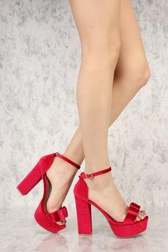 9c57a06b5fe Red Criss Cross Open Toe Platform Pump Chunky High Heels Faux Suede ...