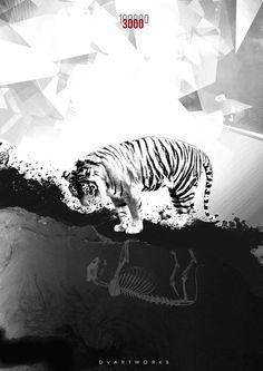 Black and white tiger Save The Tiger, Black Tigers, Communication Design, Tiger Stripes, Beautiful Soul, Graphic Design Inspiration, Lions, Graphic Art, Digital Art
