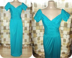 Vintage 70s Turquoise Draped Grecian Jersey Cocktail Dress Formal Gown Sz 8 S/M DESSY