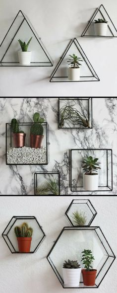 Geometric glass wall display shelves  #afflink