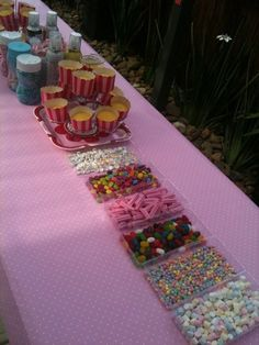Cupcake Decorating Party and Craft Party / Birthday / Featured Photo: Revealed!! It was the same on the other side of table too! Long cupcake decorating table!